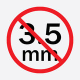Audio jack 3.5mm in ban sign. Icon vector illustration. Audio jack 3.5mm in ban sign. Icon vector illustration Stock Photography