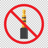 Audio jack 3.5mm in ban sign. Icon vector illustration.  Royalty Free Stock Photography
