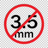 Audio jack 3.5mm in ban sign. Icon vector illustration.  Stock Photo