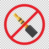 Audio jack 3.5mm in ban sign. Icon vector illustration.  Royalty Free Stock Image