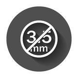 Audio jack 3.5mm in ban sign. Icon vector illustration with long shadow Royalty Free Stock Images
