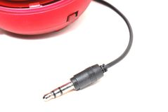 Audio Jack. A photo taken on an audio jack short cable from an external speaker Royalty Free Stock Photo