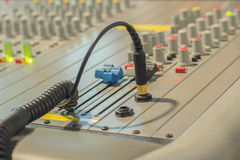 Audio jack and wires connected Audio Mixing Royalty Free Stock Images