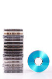 Audio K7 to blue CD Royalty Free Stock Photo