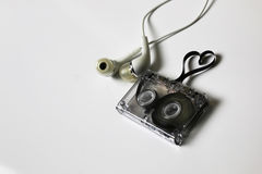 Audio kasety taśmy kształta serce Obrazy Stock