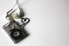 Audio kasety taśmy kształta serce Zdjęcie Stock