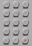 Audio knoop op grijs Stock Foto's