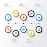 Audio Kolorowe kontur ikony Ustawiać Kolekcja lista, gramofon, hełmofony I Inni elementy, Także Zawiera symbole Zdjęcie Royalty Free