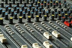 Audio levels. A mixer audio with levels and buttons Royalty Free Stock Photography
