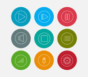 Audio line icons set Royalty Free Stock Photo