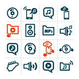Audio line icons. Vector minimalistic line music and audio icons set Stock Illustration