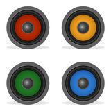 Audio loud speaker with color diffuser isolated on white. Color speakers. Vector iilustration audio speaker vector illustration