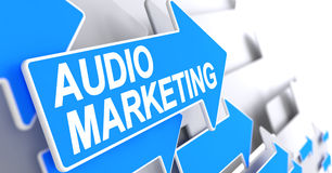 Audio Marketing - Message on Blue Arrow. 3D. Audio Marketing - Blue Pointer with a Text Indicates the Direction of Movement. Audio Marketing, Inscription on Royalty Free Stock Image