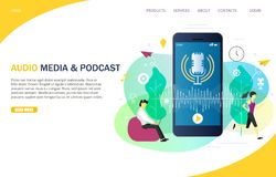 Audio media e modello d'atterraggio di vettore del sito Web della pagina di podcast illustrazione di stock