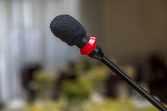 Audio microphone. Closeup of audio microphone on stage background in Brazil Stock Photo