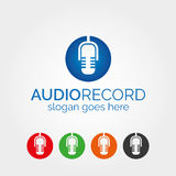Audio microphone record logo. Audio microphone logo or sign or symbol or icon. Vector illustration. 5 color, gray-scale, black, white versions and icons included Royalty Free Illustration