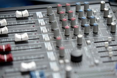 Audio mixage table. Mechanical audio mixage table with knobs stock photo
