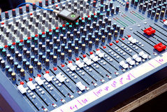 Audio mixer. Console used on road shows Royalty Free Stock Photo