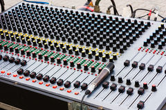 Audio mixer. Sound mixer for electronic control and equalizing audio signals royalty free stock image