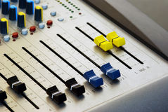 Audio mixer. In a sound studio royalty free stock photo