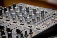 Audio mixer. Sound and music mixer of DJ Stock Photos
