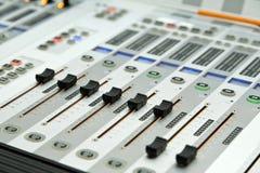 Audio mixer. Sound mixer, closeup of the knobs Royalty Free Stock Images