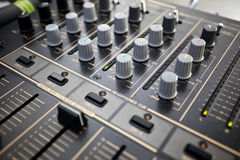 Audio mixer. Detail of a audio mixer Royalty Free Stock Photo