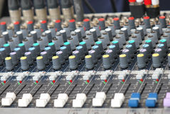 Audio Mixer. A photo taken on an audio mixer control panel Stock Images
