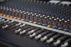 Audio mixer. Background photo of a recording studio audio mixer Royalty Free Stock Images
