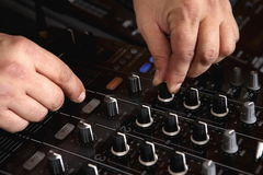 Audio mixer. A man working on a audio mixer Royalty Free Stock Photo