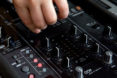 Audio mixer. A man working on a audio mixer Royalty Free Stock Image