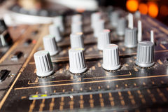 Audio mixer buttons. Detail of a audio mixer with buttons Royalty Free Stock Images