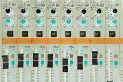 Audio mixer console Royalty Free Stock Images