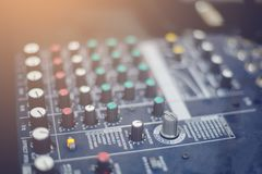 Audio mixer controller in the control room. Sound mixer control for live music and studio equipment, Quality audio system for professionals, music equipment royalty free stock images