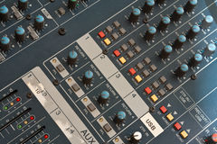 Audio mixer detail. Audio mixers are an intimidating equipment for most of the people. It is filled with lots of turning potentiometer, slide potentiometers and Stock Photography