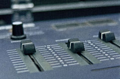 Audio mixer detail sliders Royalty Free Stock Photography