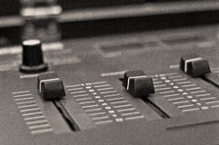 Audio mixer retro. Audio mixer detail black and white soundboard equipment retro audio dial slider macro mix amplify electric technology mixing board broadcast Royalty Free Stock Photos