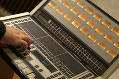Audio mixer equipment. Man at work with professional audio mixer equipment Stock Images