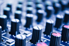 Audio mixer knobs Stock Photo
