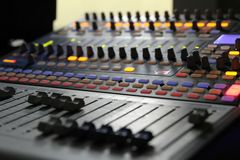 Audio mixer knobs during live TV telecast Stock Images