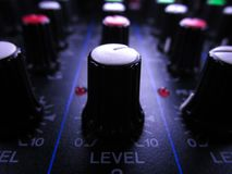 Audio Mixer Level Control. Close up of a level control in the audio mixer stock photo