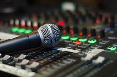 Audio mixer with microphone Stock Photo