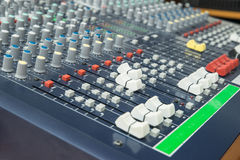 Audio mixer mixing board fader and knobs. Selective focus Stock Image