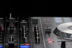 Audio mixer mixing board during a party Stock Image