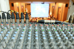 Audio mixer, music equipment in a live concert. Closeup equipment for sound mixer control, electricity device stock photo