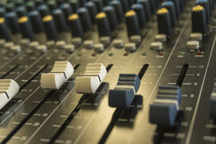 Audio mixer. Music equipment, selective focus royalty free stock image