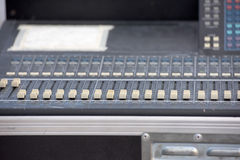 Audio mixer slider and controls detail Royalty Free Stock Photos