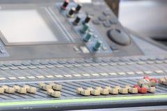 Audio mixer slider and controls detail. Professional audio mixer slider detail Stock Image