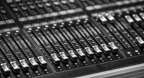 Audio mixer sound Mix Control. Large Music Mixing desk equipment equipment sound mixer control royalty free stock images
