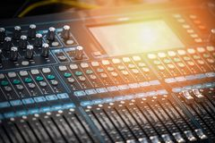 Audio mixer sound Mix Control. Large Music Mixing desk equipment equipment sound mixer control royalty free stock photos